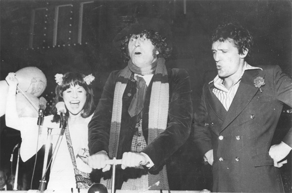 Elisabeth Sladen, Ian Marter and me throwing the switch for the Blackpool Illuminations in 1975. Picture courtesy of Blackpool Council