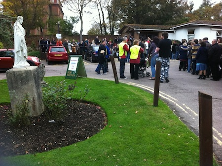 The queue in the Hospice carpark