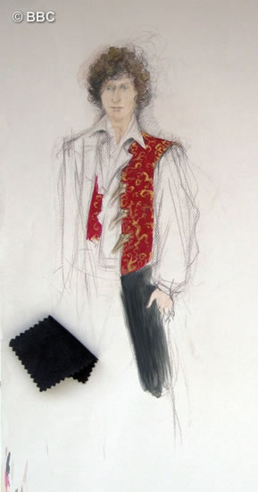 June's design for Tom's waistcoat made of Chinese silk