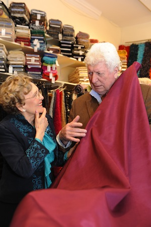 Tom and June choosing fabric