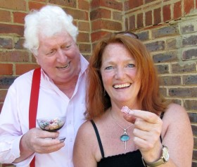 """Have a jelly baby"" A break from recording with Louise Jameson. © David Richardson, Big Finish"