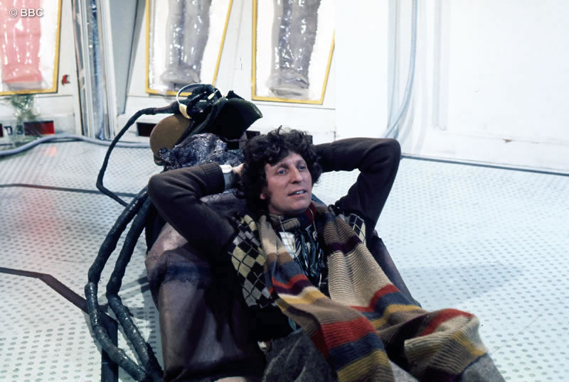 Tom relaxes on a model of a Wirrn during a break in rehearsals for 'The Ark In Space'. Picture © BBC