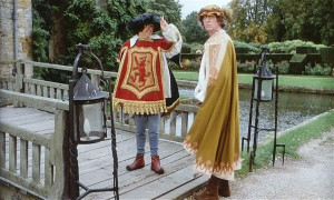 Eric Morecambe and Tom on the drawbridge of Hever Castle. Picture © Charles Wallace.