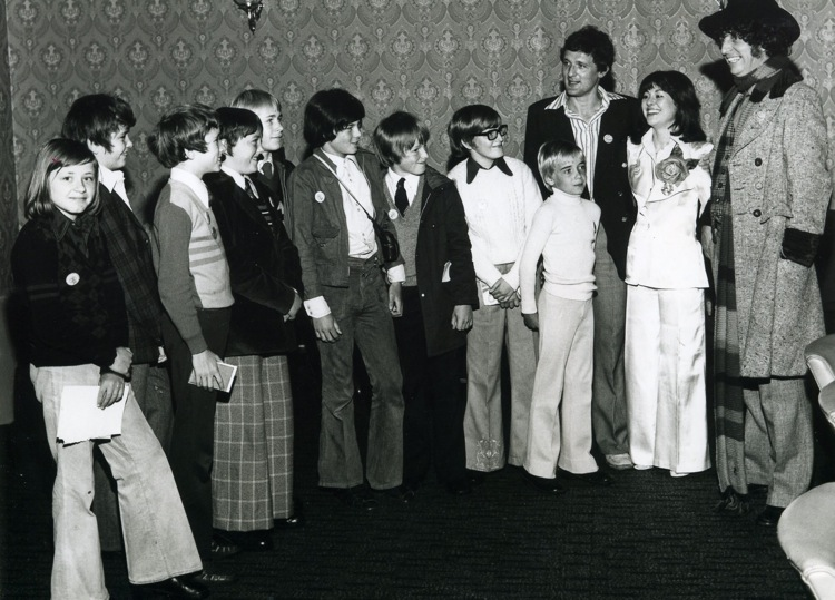 Lis, Ian and I meet the Junior Reporters Club at The Gazette, Blackpool, in 1975.  Picture © courtesy of The Gazette, Blackpool.